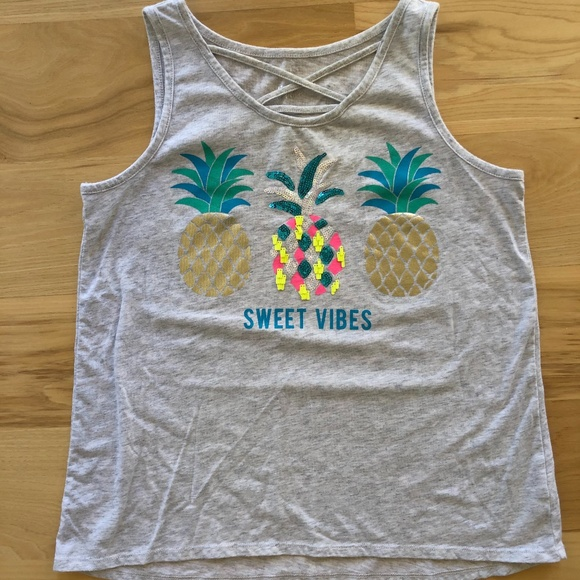 Justice Girl size 20 Plus Sweet Vibes pineapple tank Top Shirt